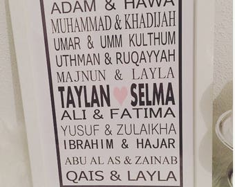 Personalized picture frame-Islam-deco-Photo wall-name-Love