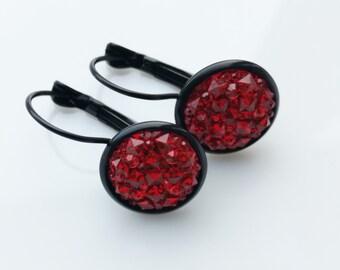 Red druy dangle earrings, sparkly faux druzy earrings