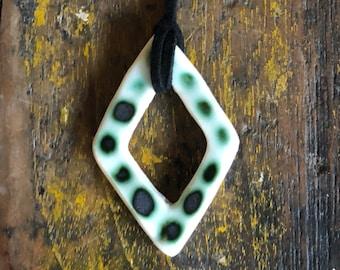 Porcelain diamond pendant - copper green spots