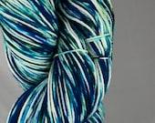 Ready to ship, 100g, ice dyed yarn, hand dyed yarn, blue variegated yarn, sock/fingering weight yarn, superwash merino:nylon yarn