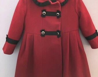 Red wool coat tailored by Rothschild (size 3 toddler)
