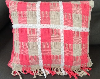 Pink handwoven cushion
