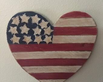 Flag heart shape wreath