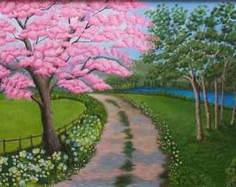 Cherry Blossom Print, Nature Art, Cherry Blossoms, Country Roads Art,Cherry Blossom Art, Nature Poster,Print, Springtime Print