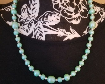 Sea foam green Pearl necklace with silver accent beads