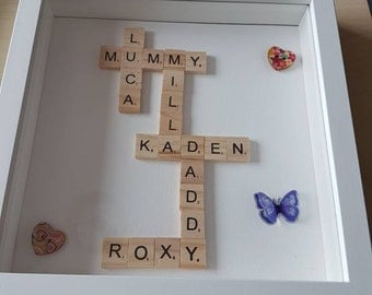 Handmade personalised scrabble picture