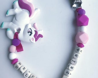 Unicorn handmade dummy clip/teether