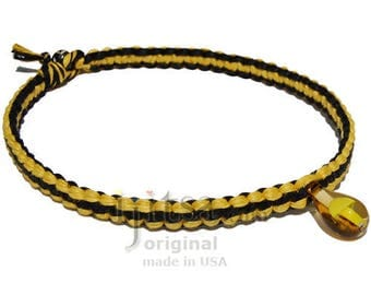 Yellow and black wide flat hemp necklace yellow glass mushroom