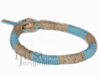 Leather Bracelet or anklet wrapped with Sky Blue and Natural hemp