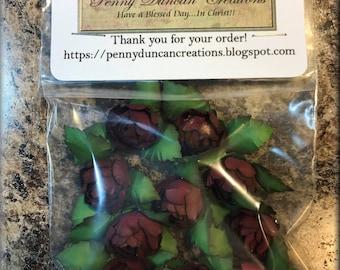 """Handmade Paper Rosebuds Burgundy 1"""""""