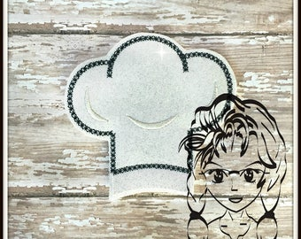 CHEF Hat Center (Add On ~ 1 Pc) Mr Miss Mouse Ears Headband ~ In the Hoop ~ Downloadable DiGiTaL Machine Embroidery Design by Carrie