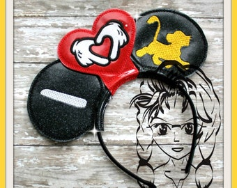 I HeART baby Lion Inspired (3 Piece) Mr Miss Mouse Ears Headband ~ In the Hoop ~ Downloadable DiGiTaL Machine Emb Design by Carrie