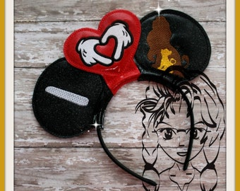I HEART Hands LION Dad Son King (3 Piece) Mr Miss Mouse Ears Headband ~ In the Hoop ~ Downloadable DiGiTaL Machine Emb Design by Carrie