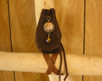 """Cougar leather pouch, coco leather with leather drawstring, glass charm , amber crystal 3.5"""" x 2.25"""""""