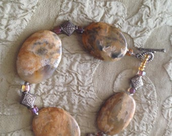 """Lace Agate Bracelet Toggle Clasp Handmade 9 Inches """"Soaring Spirits"""""""