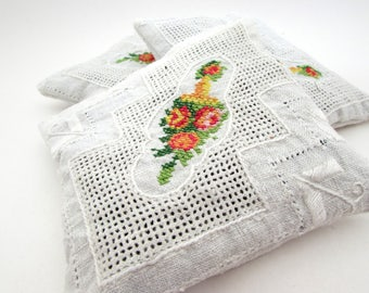 Large Dried Lavender Sachet - Vintage Embroidered Linens - Cutwork - Cross Stitch - Floral - drawer - laundry
