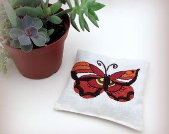 Vintage Butterfly Gift - Large Dried Lavender Sachet - Vintage Embroidered Linens - drawer sachet - nature gift - garden gift