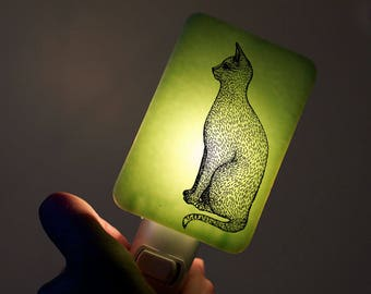 Cat Nightlight on Mint Green Fused Glass Night Light - Gift for Baby Shower or Nature Lover  - House Cat Domestic Sitting cat