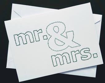mr. & mrs. hand-embroidered card
