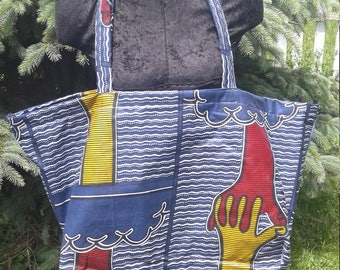One of A Kind Unity Strong Durable Grocery Shopping Market Hippie Tote Bag With Beautiful African Fabric