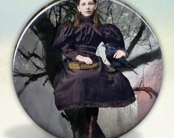 The Girl and The Raven Pocket Mirror