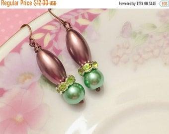 SALE Green Pearl Earrings, Green Rhinestone Earrings, Purple Pearl Drop Earrings, Purple Dangle Earrings, Spring Earrings, KreatedByKelly