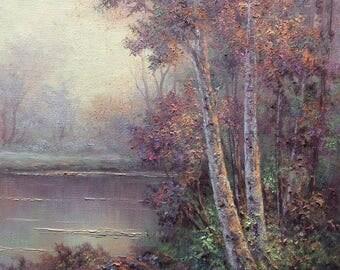 Birch Landscape , Original Fine Art, Oil Painting by Griselda Tello, California Costal Redwoods, Forest Landscape, Redwood art