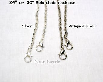Bulk listing, 50 antique silver rolo necklaces, 24 inches or 30 inches, 3x4 mm oval link, silver chain, necklace chain,  chain, large lot