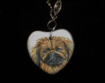 Pekingese Dog Chain Necklace Hand Painted Ceramic Pendant FINAL SALE