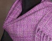 Winter scarf / handwoven merino wool / orchid