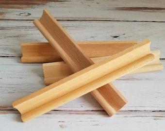 4 wooden scrabble tile racks