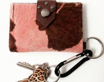Pink & Brown Hair on Hide Keychain Wallet