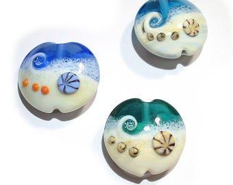 Handmade glass Lampwork beads, Ocean Wave Lentils