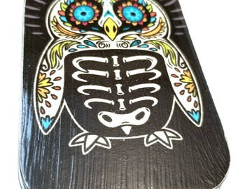 Skelton Owl. . . a large notion tin