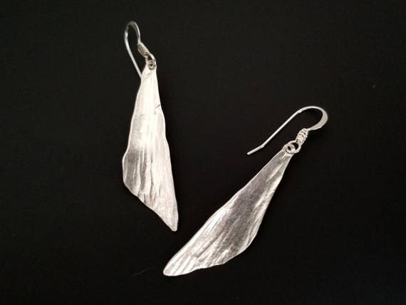 Silver dragonfly wing earrings, abstract art, triangle earrings, rustic jewelry, nature jewelry, inspired by nature, minimalist jewelry