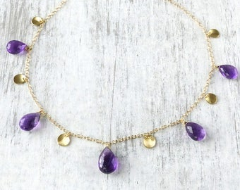Amethyst Petals Necklace in 18ct Yellow Gold, Handmade in the UK