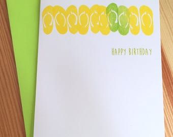 Flip Flops Birthday Card - Beach Birthday Card - Hand Printed Happy Birthday Card - Summer Birthday Card