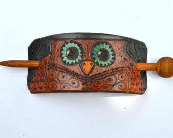 Owl Leather Hair Stick, Leather Hair Accessory, Pony Tail Stick, Owl Hair Barrette