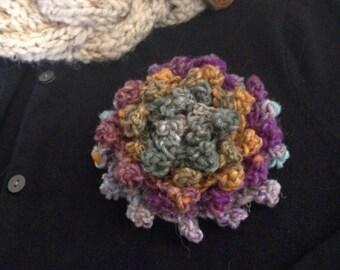 SALE Statement Flower Brooch Corsage Purple Sage Orange Multicolor Dahlia with Felted Pin Back Large Crochet Flower Pin