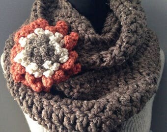 SALE Brown Infinity Scarf Chunky Cowl Chocolate Tweed Neck Warmer Endless Circle Loop with Statement Flower Brooch