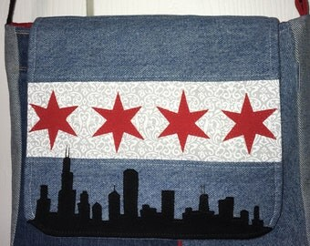 Denim Chicago Flag with Skyline Messenger Bag