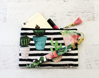 iPhone wallet - cellphone wristlet - cactus wristlet - cactus bag - cactus pouch - striped wristlet pouch - wristlet wallet - gift for her