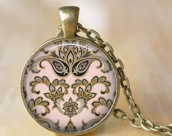 Victorian Paisley Pendant Necklace or Key Chain - Choice of 4 Colors