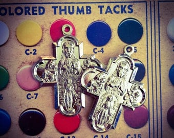 SALE 2pcs VINTAGE PLATED Crosses Religious Medals