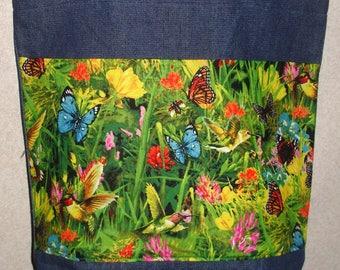 New Large Handmade Hummingbird Butterfly Garden Flower Nature Denim Tote Bag