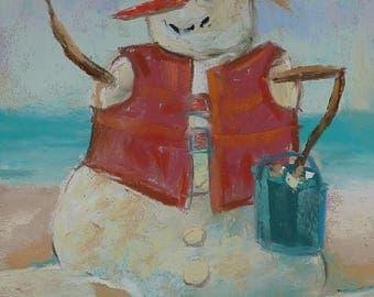 SNOWMAN in the Caribbean Beach Holiday Original Pastel Painting  Karen Margulis