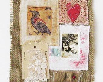 Small art quilt, Best Friends, textile art