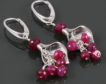 Genuine Ruby Earrings. Sterling Silver Flowers. Lever Back Ear Wires. July Birthstone. Cluster Earrings. s17e094