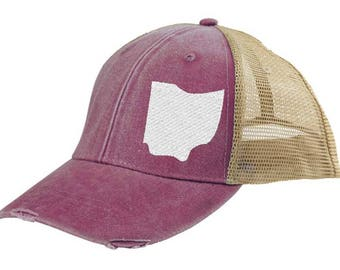 Distressed Snapback Trucker Hat -  Ohio off-center state pride hat - Many Colors available