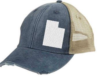 Distressed Snapback Trucker Hat -  Utah off-center state pride hat - Many Colors available